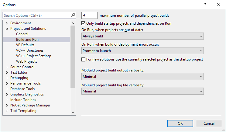 Visual Studio's Build and Run options page