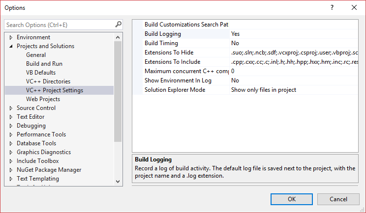 Visual Studio's VC++ Project Settings options page